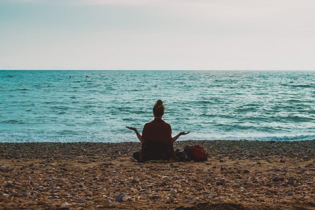 meditation near lake