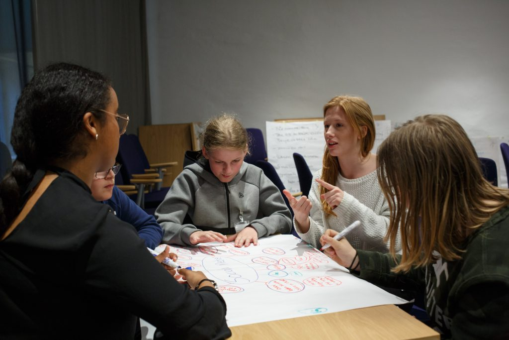 A group of 5 young individuals collaborating on a project and discussing potential solutions.