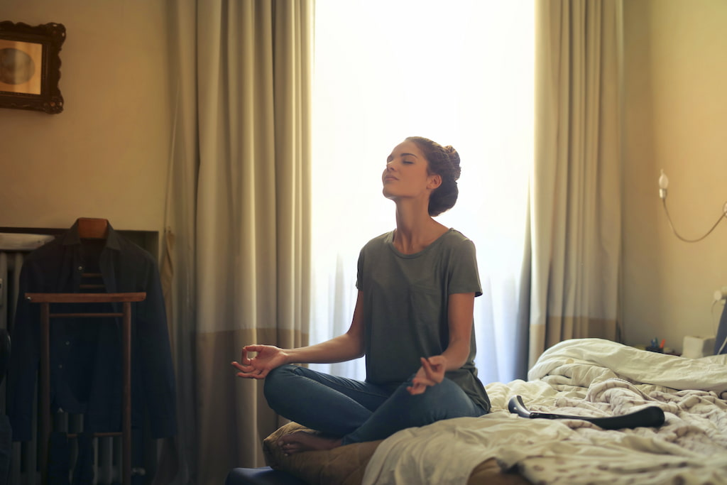 meditating woman in daily life