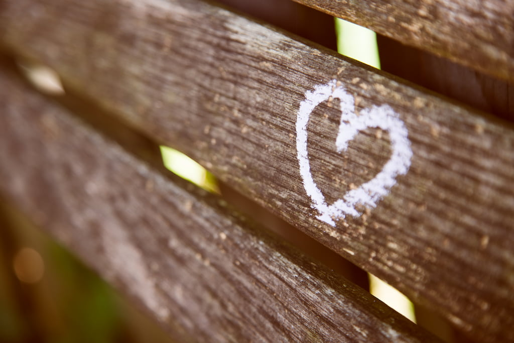heart on the wood