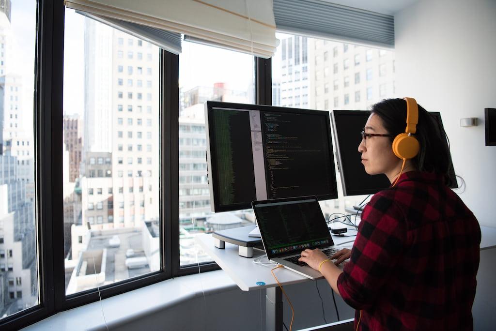 thoughtful woman working