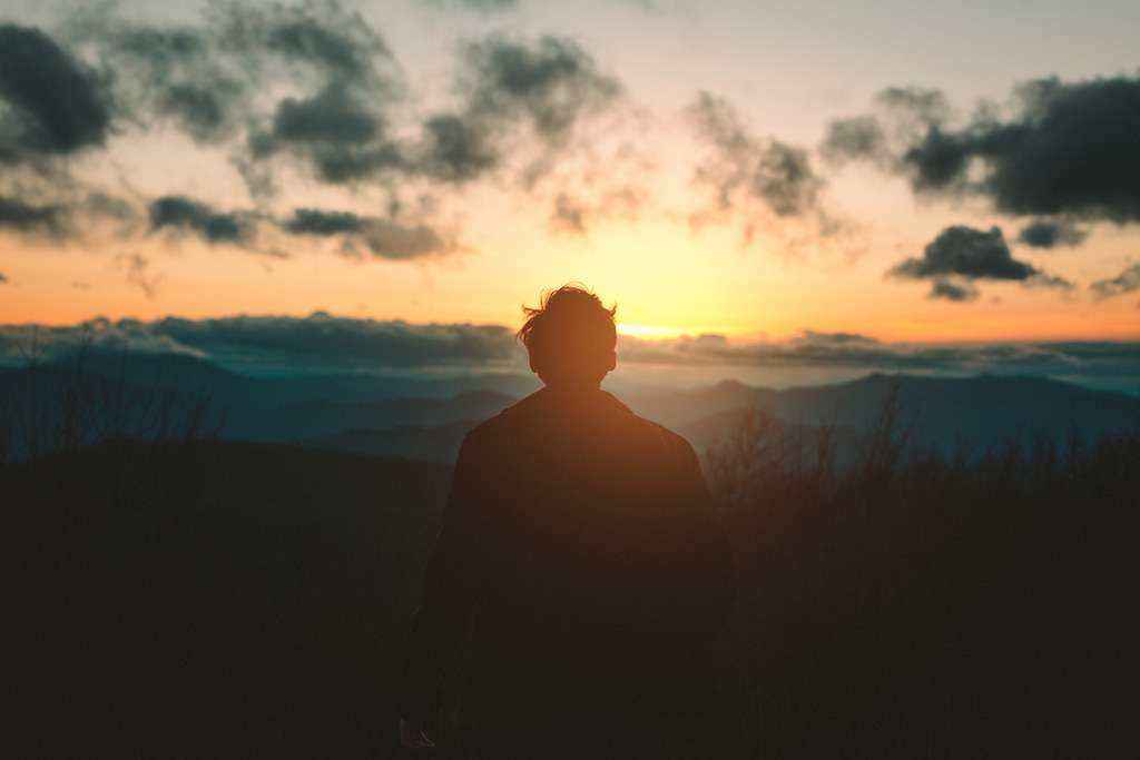 man standing on the sunset