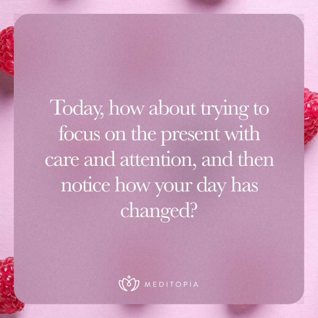 Today, how about trying to focus on the present with care and attention, and then notice how your day has changed?